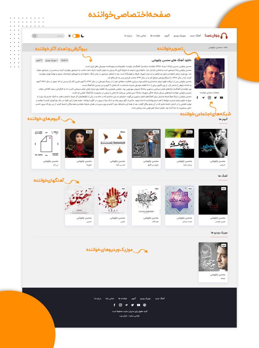 صفحه اختصاصی خواننده در قالب وردپرس جوان صدا